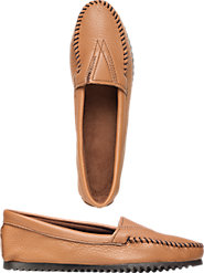 Women's Minnetonka Deerskin Shoo-Fly Mocs Are Comfortable Even for Tender Feet