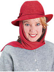 Jaunty Wool Scarf Hat Stays On in the Breeze