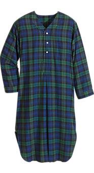 Men's Plaid Cotton Flannel Nightshirt