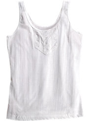 Comfortable Cotton Camisole with Pretty Lace Insert