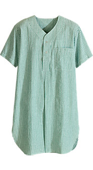 Short-Sleeve Seersucker Nightshirt