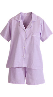 Classic Striped Seersucker Shortie Cotton Pajamas
