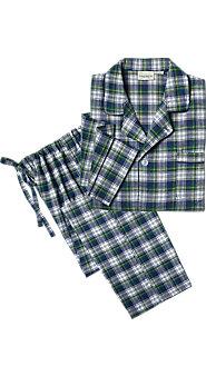 Men's 100% Cotton Plaid Flannel Button-Front Pajamas