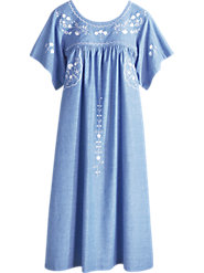 Cool, Crisp Chambray Cotton Dress Fancied Up with Embroidery