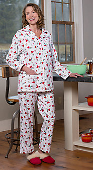 Womens Lanz of Salzburg Cardinal Flannel Pajamas