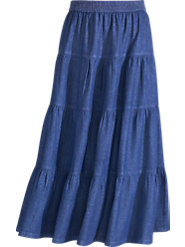 Four-Tiered Skirt in Denim Swings Back on the Scene