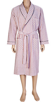 The Cool Comfort of  a Cotton Seersucker Men's Bathrobe in Fresh Stripes