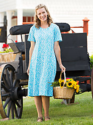 Wrinkle-Resistant 100% Cotton Knit A-Line Dress: A Cool, Easy Style for Home or Traveling
