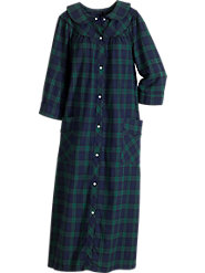 Snap-front Long Flannel Robe