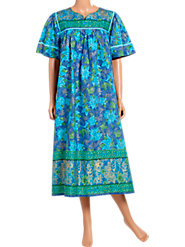 Our Bright 100% Cotton Border-Print Muumuu-Think Spring and Sunny Vacations!