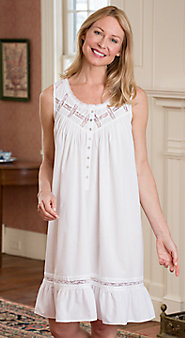 Womens Eileen West Moonlight Sonata Short Cotton Nightgown