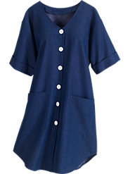 Pop-On Denim Smock: Endless Comfort with Big Button Style