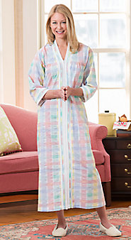 The Pastels of Spring, the Comfort of Plissé in Our Madras Zip-Front Robe