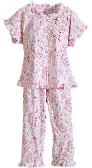Enjoy the Sweetest of Dreams in Our  Ruffled Toile Capri Cotton Pajamas