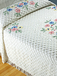 100% Cotton Chenille Bedspread with a Loop and Tufted Floral Medallion Motif from the '50s