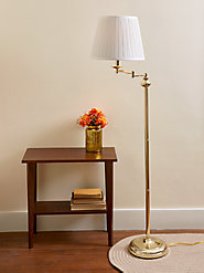 Brass-Finish Swing-Arm Floor Lamp Directs Light Right Where You Need It