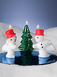 1950s-Style Twin Snowmen Candles Skate Around a Glittery Tree