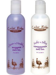Emu oil enriched shampoo and conditioner unclogs hair follicles for the fullest head of hair.