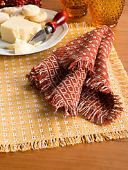 100% Cotton Mountain Weave Cloth Napkins in Traditional Pattern: Both Quality & Style