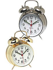 Twin Bell Wind-Up Alarm Clock by Bulova with a Loud Ring and Friendly Tick