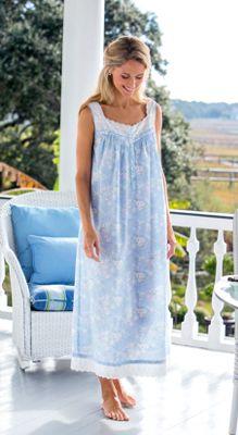 Lanz Of Salzburg Cotton Nightgown Eyelet Trim And