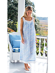 Sweet Hummingbird nightgown  in Crisp Cotton Lawn—Relax in the Enduring Quality of Lanz of Salzburg