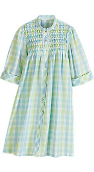 Womens Seersucker Smocked Snap Front Duster
