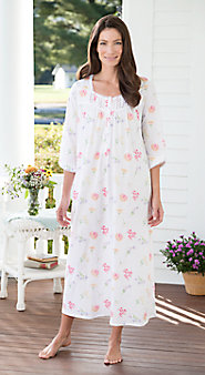 Lanz Soft Cotton Knit nightgown  in a Summer Fresh Garden Print