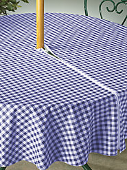 Stylish Vinyl Tablecloth Accommodates the Umbrella