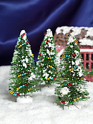 Multi-Garland Bottle Brush Trees (Set of 3)