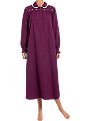 Lanz Embroidered Boysenberry Smocked Nightgown