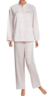 Brushed-Back Satin PJ with Lace Yoke