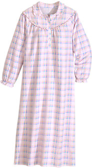 Pastel Plaid Flannel Nightgown