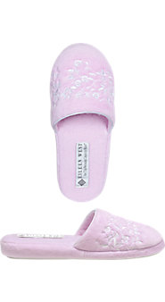 Eileen West Forget-Me-Not Velour Slippers
