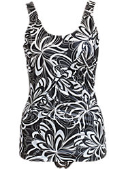 Chlorine-Resistant Black-and-White Print Swimsuit