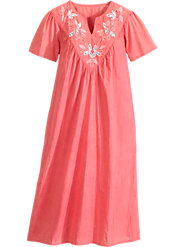 Embroidered-Yoke Crinkled Muumuu