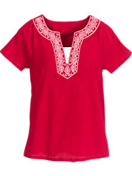 Embroidered Neck Gauze Top