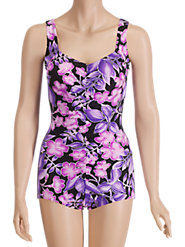 Pink-and-Lavender Floral Shirred-Front Swimsuit