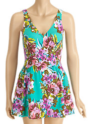 Green-and-Pink Floral Swimdress