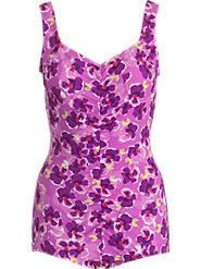 Pink Floral Shirred-Front Swimsuit