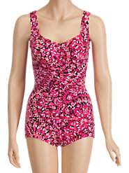Pink Petals Shirred-Front Swimsuit