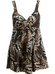 Brown Metallic Bow-Front Swimdress