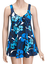 Navy/Black Bow-Front Swimdress