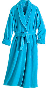 Womens Shawl Collar Chenille Wrap Robe