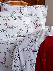 Cardinal and Chickadee Flannel Sheet Set