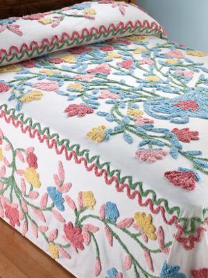 Floral Cotton Chenille Bedspread
