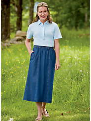 100% Cotton Six-Gore, Pull-On Skirt: Easy on the Figure and Eyes