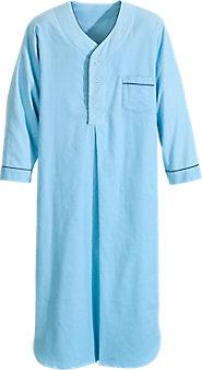 Men's Full-Length Solid Flannel Nightshirt