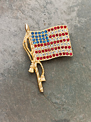 American Flag Crystal Pin