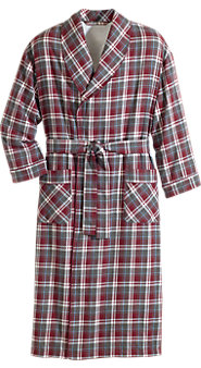 Fleece-Lined Flannel Wrap Robe